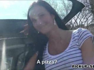 Pizza delivery girl Liliane public fuck