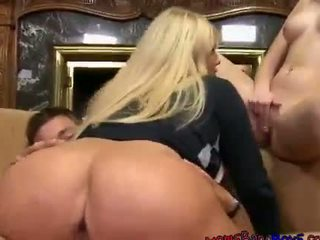 Girlfriend Molly Gets Sandwiched By Cock And MILF Karen Fisher