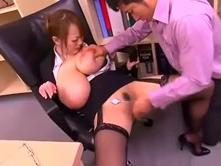 Κακός γραφείο κυρία με μεγάλος βυζιά hitomi tanaka