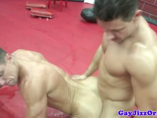Beefy hunks wrestling and fucking