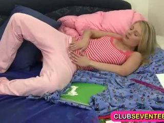 Club Seventeen: Hot sexy blonde teen fingers her fresh pussy