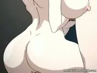 Loads of hentai cumshot pour out of her both holes