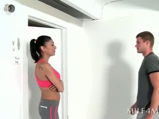 Horny fitness trainer giving hot blowjob after yoga