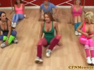 CFNM Femdoms Jerking Cock At Aerobics