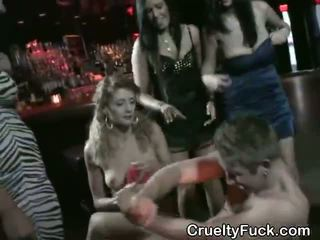 Girls Share Stripper At Reverse Gangbang Party In Club
