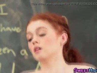 Teen redhead jizz faced