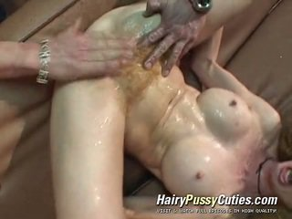 Lanuginous scarlet head has a dose of exploitation of her squirting unshaven bearded clam by a tattooed man