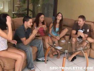 Junior females having funtime strip poker