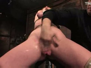 Darling gets tied up and gets her pussy fingered stimulated
