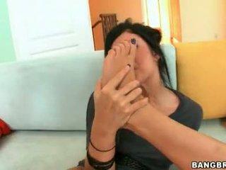 Sluty Slut Andy San Dimas Rubs Her Smooth Soles On A Thtobbing Thick Wang