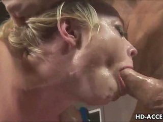 Sexy blonde gives a great blowjob
