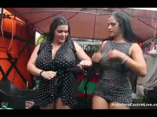 Angelina castro 和 思念 raquel 的阴户 玩 在 该 雨!
