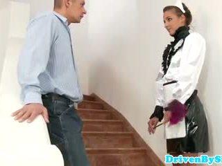 Eurobabe Amirah Adara facialized as a maid