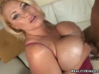 Samantha 38g Wanks Jock With Her Huge Oiled Up Juggs