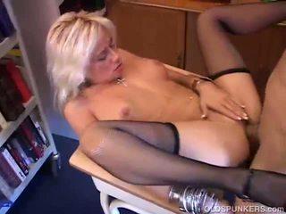 Blonde MILF fucking in the classroom