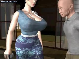 Animated milf with massive breasts