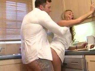 British blonde slut gets fucked in the kitchen