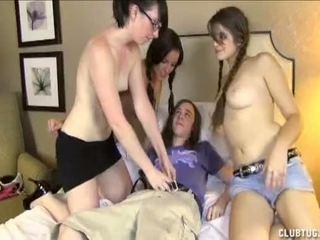 Three Super Horny Girls Handjob