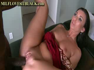 Hot Cougar Takes Monster ebony shaft