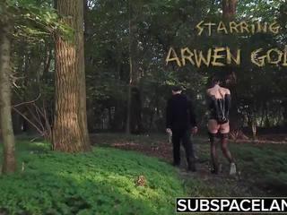 Arwen gold bdsm session ar sekss spēļmantas un āda rīkste