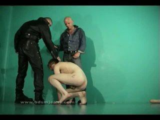 Two straight masters humiliate slave