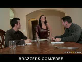 Charley chase - duży cycek brunetka has double penetration trójkąt orgia z szef