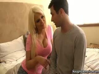 príťažlivé veľké prsia zábava, veľký výstrek pekný, blondínka