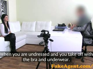 FakeAgent Raven haired amateur talked into sex and Jizzed over in Casting