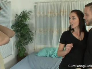 Ashley humiliates her hubby showing him a big cock