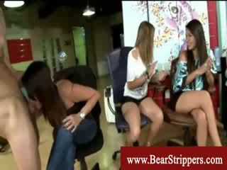 Cfnm sleezy bitches playing with cock