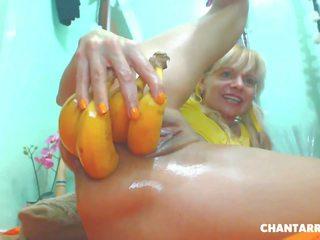 tūpļa, masturbācija, blondīne