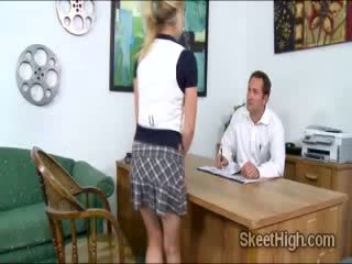 Two horny innocent babes Tati and Taylor provoke the school principal