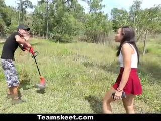 CFNMTeens Sexy Ebony Fucks The Gardener