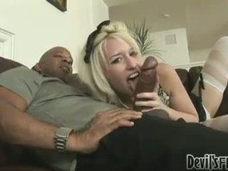 Blonde bitch Proxy Paige gets her mouth ripped by a massive pole and loves it