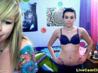 Nerd emo girls in a sexy webcam light ...