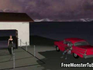 3d tekenfilm roodharige gets geneukt hard door een zombie