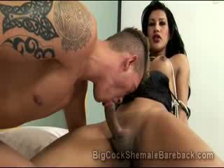 Hung bigtit Tgirl Gabriella De Carvalho receives Blow Job from a hetro guy