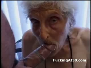Senile wrinkled granny gives blowjob and is fucked by deviant freak