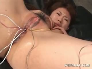 Asian Tramp Gets Her Hairy Wet Twat Fucked With Vibrators