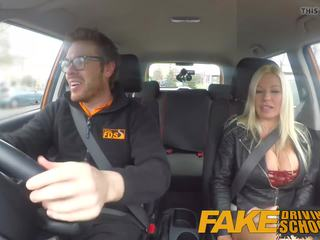 Fake Driving School Squirting Orgasm Busty MILF Takes