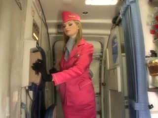 Pekný blondýna letuška satie vták onboard