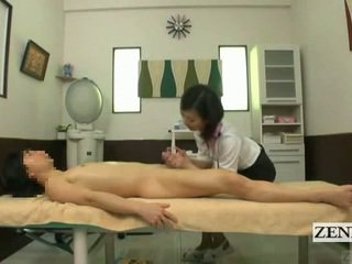 Subtitled נקבה בלבוש וגברים עירומים ביחד יפני מסג' עם חושני עבודה ביד