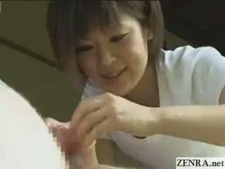 Ārā valsts japānieši apģērbta sievete kails vīrietis dzimumloceklis uzkopšana pakalpojums