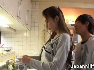 japansk, skönhet, mor