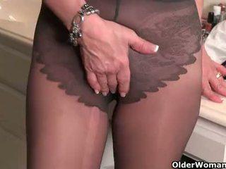 American milfs Penny and Amanda love masturbating in nylon