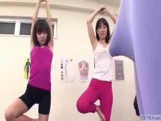 Japanese trainer gets erection at the gym