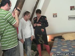 Two Friends Bang Granma in Red Lingerie, Porn 5d