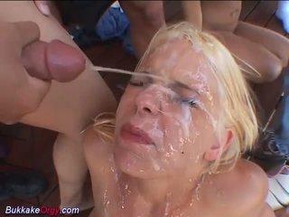 Cực bukkake gangbang cô gái, miễn phí đức khiêu dâm video 6b