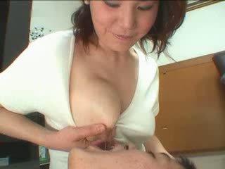 buah dada besar, jepun, matang, ibu