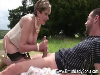 Mature stocking prostitute Blow Job and jizz shot